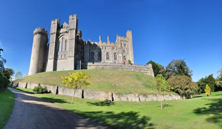 Looking up at Arundel Castle