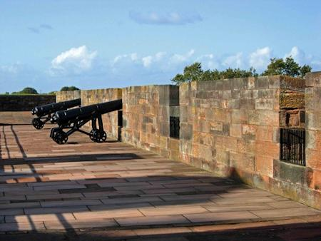 Napoleonic guns on the castle's wall walk
