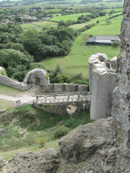 Looking down at the gatehouse at Corfe