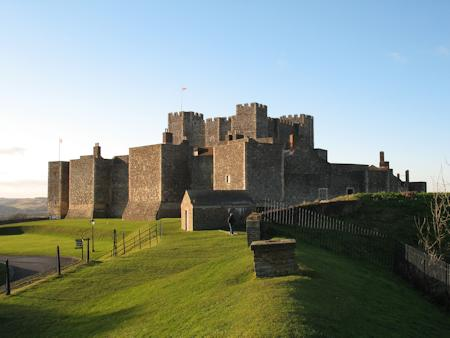 The intricate concentric fortification at Dover Castle.