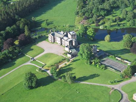 Aerial view of Greystoke Castle