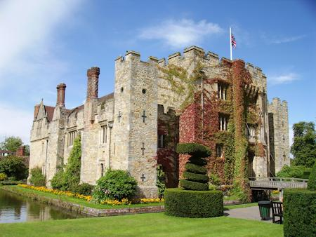 The front of Hever Castle with the gatehouse and moat