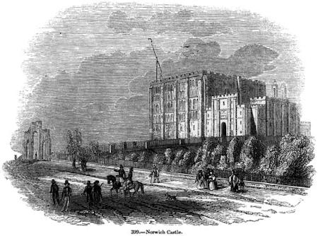 19th Century engraving showing Norwich Castle as a prison
