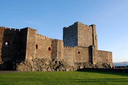The imposing keep and outer wall.