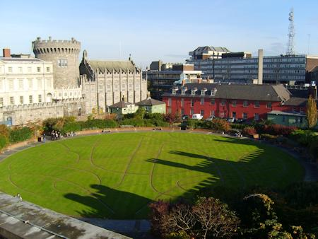 The gardens at the rear of Dublin Castle