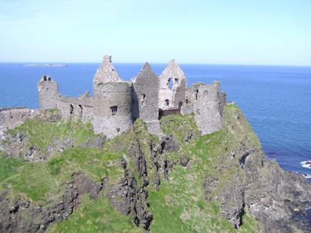 Dunluce Castle in its spectacular cliffside setting.