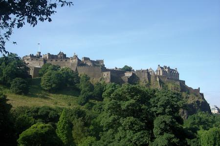 Edinburgh Castle, Scotland. Looking up at the castle from the City of Edinburgh.