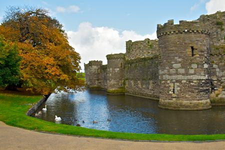 Moat and outer curtain at Beaumaris Castle