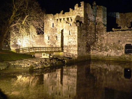 Beaumaris Castle's Gatehouse and Dock at night