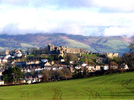 Denbigh Castle and town from across the moor